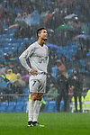 Cristiano Ronaldo of Real Madrid looks on under the rain during the La Liga match between Real Madrid and Real Sporting de Gijon at the Santiago Bernabeu Stadium on 26 November 2016 in Madrid, Spain. Photo by Diego Gonzalez Souto / Power Sport Images