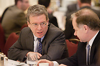 """Montreal (QC) CANADA, April 7, 2008- <br /> <br /> Tom Albanese, Chief Executive Officer of Rio Tinto, at the Canadian Club of Montreal's podium where he spoke about<br /> """"Rio Tinto: A world leader in mining and minerals, creating value and<br />     opportunity for Québec and Canada"""".On his right : Raymond Bachand , Minister of Economic Development, Innovation and Trade, Quebec.<br /> <br /> <br /> <br /> photo : (c) ¨Pierre Roussel -  images Distribution"""