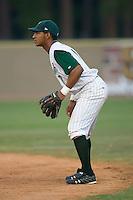 Second baseman Greg Veloz (7) of the Savannah Sand Gnats on defense at Grayson Stadium in Savannah, GA, Wednesday August 6, 2008  (Photo by Brian Westerholt / Four Seam Images)