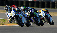 Tommy Hayden (22) leads a pack of motorcyles during the AMA SuperBike motorcycle race at Daytona International Speedway, Daytona Beach, FL, March 2011.(Photo by Brian Cleary/www.bcpix.com)