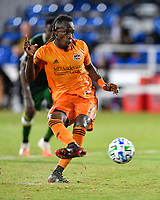 LAKE BUENA VISTA, FL - JULY 18: Alberth Elis #7 of the Houston Dynamo scores on a penalty kick during a game between Houston Dynamo and Portland Timbers at ESPN Wide World of Sports on July 18, 2020 in Lake Buena Vista, Florida.