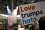 Hundreds protest the Muslim Ban of President Donald Trump at Philadelphia International Airport, in Philadelphia, PA, on January 28th, 2017.<br /> <br /> An attempt by local government representatives and ACLU lawyers to negotiate the release of a family of six Syrian refugees is going into the night with a standstill as a judge is expected to make a decision on Sunday Morning.