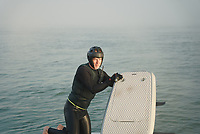 BNPS.co.uk (01202 558833)<br /> Pic: TWT/BNPS<br /> <br /> Pictured: Rob Wylie during his attempt.<br /> <br /> A daredevil businessman has created a new record by being the first person to circumnavigate the Isle of Wight on an eFoil board.<br /> <br /> Rob Wylie, 51, completed the 55-mile circular route in just 2 hours, 46 minutes and 23 seconds on a Fliteboard, an electric-powered hydrofoil board.<br /> <br /> The board hovers about 3ft above the water and Rob travelled at an average speed of 20mph.