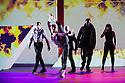 London, UK. 18.10.2013. Boy Blue Entertainment perform THE FIVE AND THE PROPHECY OF PRANA at the Barbican theatre. Dancers are: Michele 'Paleta' Rhyner, Bradley 'Bradz' Charles, Theo 'Godson' Oloyade, Kofi 'Klik' Mingo, Xena Gusthart, Vicky 'Skytilz' Mantey, Duwane Taylor, Kayla Lomas-Kirton, shaun Smith, Hakim Saber and Jumar Aben. Picture shows: Hakim Saber, Michele 'Paleta' Rhyner, Jumar Aben, Duwane Taylor, Kayla Lomas-Kirton. Photograph © Jane Hobson.