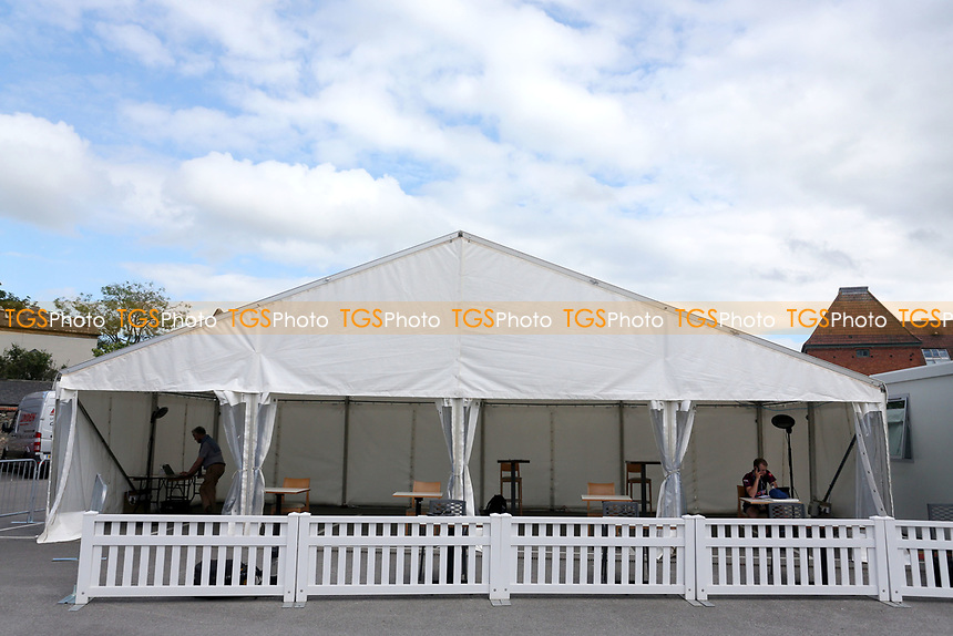 General view of the media tent ahead of Somerset vs Essex Eagles, Vitality Blast T20 Cricket at The Cooper Associates County Ground on 9th June 2021