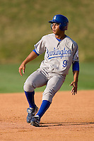Yeldrys Molina #9 of the Burlington Royals pulls up after hitting a double versus the Johnson City Cardinals at Howard Johnson Stadium June 27, 2009 in Johnson City, Tennessee. (Photo by Brian Westerholt / Four Seam Images)