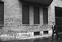 - Milan, mural writings against Spanish dictator Francisco Franco (1975) ....- Milano, scritte murali contro il dittatore spagnolo Francisco Franco (1975)