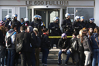 Montreal (QC) CANADA - March 19 2012 - Quebec students on strike againt tuition fees increase, demonstrate in front of a Queebc Government building at 600 Fullum.