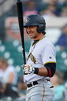 Bradenton Marauders right fielder Tyler Gaffney (6) on deck during the first game of a doubleheader against the Lakeland Flying Tigers on April 11, 2018 at Publix Field at Joker Marchant Stadium in Lakeland, Florida.  Lakeland defeated Bradenton 5-4.  (Mike Janes/Four Seam Images)