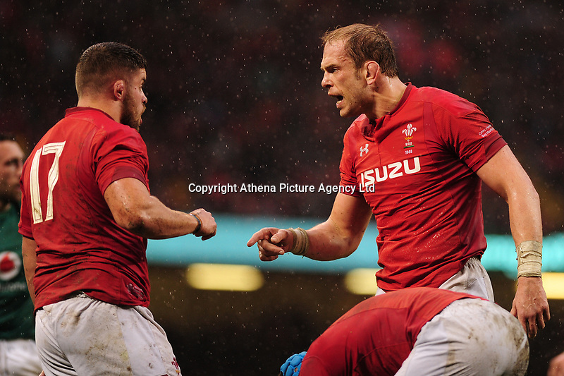 Pictured: Alun Wyn Jones of Wales in action during the Guinness six nations match between Wales and Ireland at the Principality Stadium, Cardiff, Wales, UK.<br /> Saturday 16 March 2019