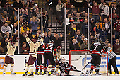 Danny Linell (BC - 10), Pat Mullane (BC - 11), Johnny Gaudreau (BC - 13) - The Boston College Eagles defeated the Northeastern University Huskies 6-3 for their fourth consecutive Beanpot championship on Monday, February 11, 2013, at TD Garden in Boston, Massachusetts.