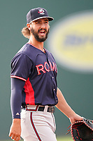 First baseman Brett Langhorne (23) of the Rome Braves in a game against the Greenville Drive on Tuesday, August 3, 2021, at Fluor Field at the West End in Greenville, South Carolina. (Tom Priddy/Four Seam Images)