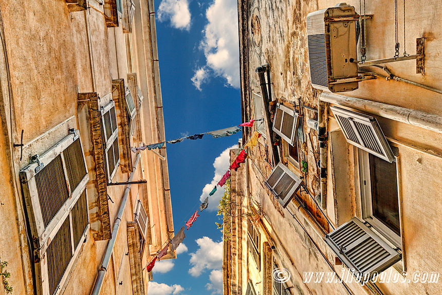 Looking up into the famous alleyways (kantounia) in the old town of Corfu, Greece