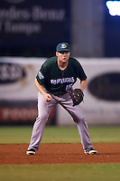 Daytona Tortugas third baseman Gavin LaValley (15) during a game against the Tampa Yankees on August 5, 2016 at George M. Steinbrenner Field in Tampa, Florida.  Tampa defeated Daytona 7-1.  (Mike Janes/Four Seam Images)