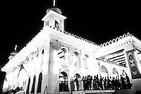 Bangladeshi Shiite Muslims gathered for prayer at Hoseni dalan on the day before Ashura.  Shiites mark Ashura, the tenth day of the month of Muharram, to commemorate the Battle of Karbala when Imam Hussein, a grandson of Prophet Muhammad, was killed.<br /> Dhaka, Bangladesh. Nov. 3, 2014