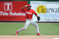 Philadelphia Phillies second baseman Jesmuel Valentin (25) during Instructional League game against the New York Yankees on September 23, 2014 at the Bright House Field in Clearwater, Florida.  (Mike Janes/Four Seam Images)