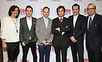 """Lynne Meadow, James Graham, Jonny Lee Miller, Rupert Goold, Bertie Carvel and Barry Grove attends the Broadway Opening Night After Party for """"Ink"""" at the Copacabana on April 24, 2019  in New York City."""
