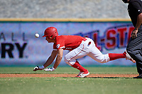 Alex Ulloa (8) steals second base during the Baseball Factory All-Star Classic at Dr. Pepper Ballpark on October 4, 2020 in Frisco, Texas.  Alex Ulloa (8), a resident of Culter Bay, Florida, attends Calvary Christian Academy.  (Mike Augustin/Four Seam Images)