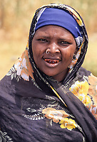 Woman, Kanuri (Bare Bari) Ethnic Group, with Nose Ring and Dyed teeth, near Goure, Niger.