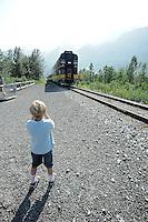 Elliot Piper takes a photo of The Alaska Railroad's Spencer Glacier Whistlestop train.