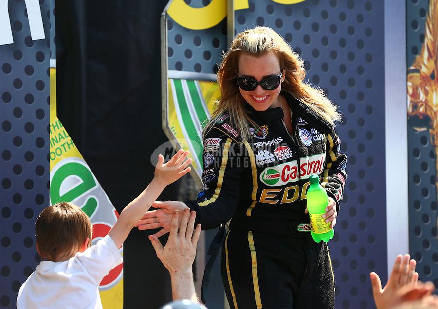Jun. 2, 2013; Englishtown, NJ, USA: NHRA top fuel dragster driver Brittany Force during the Summer Nationals at Raceway Park. Mandatory Credit: Mark J. Rebilas-