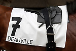 August 15, 2021, Deauville (France) - Saddle cloth for #7 and saddle of Jockey Gregory Benoist for races in Deauville at the Deauville Racecourse. [Copyright (c) Sandra Scherning/Eclipse Sportswire)]