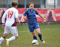 France U19 - Russia U19 : Alena Zhizhova with the tackle on French Aurelie Gagnet (right).foto DAVID CATRY / Nikonpro.be