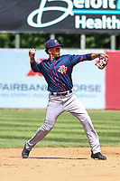 Cedar Rapids Kernels shortstop Wander Javier (15) throws to first base during a Midwest League game against the Beloit Snappers on June 2, 2019 at Pohlman Field in Beloit, Wisconsin. Beloit defeated Cedar Rapids 6-1. (Brad Krause/Four Seam Images)
