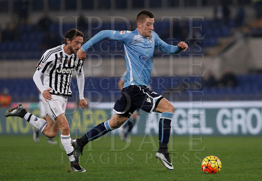 Calcio, Serie A: Lazio vs Juventus. Roma, stadio Olimpico, 4 dicembre 2015.<br /> Lazio's Sergej Milinkovic-Savic, right, is chased by Juventus' Claudio Marchisio during the Italian Serie A football match between Lazio and Juventus at Rome's Olympic stadium, 4 December 2015.<br /> UPDATE IMAGES PRESS/Isabella Bonotto