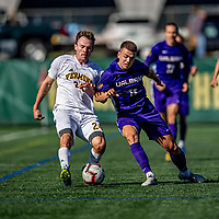 5 October 2019: University of Vermont Catamount Midfielder Joe Morrison, a Sophomore from Foxboro, MA, battles University at Albany Great Dane Midfielder Hafliði Sigurðarson, a Sophomore from Reykjavík, Iceland, on Virtue Field in Burlington, Vermont. The Catamounts fell to the visiting Danes 3-1 in America East, Division 1 play. Mandatory Credit: Ed Wolfstein Photo *** RAW (NEF) Image File Available ***