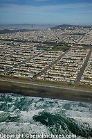 aerial photograph of the Sunset district from Oecan Beach and the Great Highway to Sutro Tower, San Francisco, California