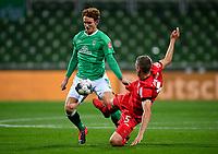 18th May 2020, WESERSTADION, Bremen, Germany; Bundesliga football, Werder Bremen versus Bayer Leverkusen;  Bremens Joshua Sargent gets a high boot from Sven Bender of Leverkusen.