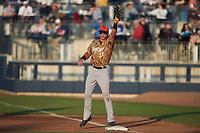 Down East Wood Ducks first baseman Dustin Harris (20) on defense against the Kannapolis Cannon Ballers at Atrium Health Ballpark on May 8, 2021 in Kannapolis, North Carolina. (Brian Westerholt/Four Seam Images)