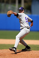 March 23, 2010:  Pitcher Luke Farrell of the Northwestern Wildcats during a game at the Chain of Lakes Stadium in Winter Haven, FL.  Photo By Mike Janes/Four Seam Images