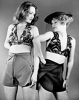 In halters: Designer Harron; left; matches them with shorts