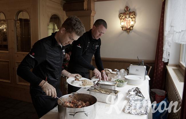 lots of carbs for Riccardo Zoidl (AUT/Trek-Segafredo) at dinner<br /> with Team Trek Segafredo chef Kim Rokkjaer checking everything<br /> <br /> 99th Giro d'Italia 2016