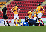 St Johnstone v Motherwell…21.11.20   McDiarmid Park      SPFL<br />Murray Davidson gets treatment after a bad landing <br />Picture by Graeme Hart.<br />Copyright Perthshire Picture Agency<br />Tel: 01738 623350  Mobile: 07990 594431