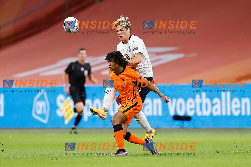 AMSTERDAM, 07-09-2020, JohanCruyff Stadium, season 2020 / 2021 . Nations Leaque game between Netherlands and Italy. Italian player Nicolò Zaniolo and Netherlands player Nathan Ake<br /> Amsterdam 07-09-2020 <br /> Football Calcio Uefa Nations League <br /> Olanda - Italia / Netherlands - Italy <br /> Photo Stanley Gontha / Pro Shots / Insidefoto <br /> ITALY ONLY