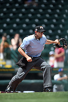 Umpire Alex Mackay signals fair ball during a game between the St. Lucie Mets and Bradenton Marauders on April 12, 2015 at McKechnie Field in Bradenton, Florida.  Bradenton defeated St. Lucie 7-5.  (Mike Janes/Four Seam Images)