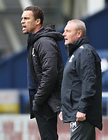 1st May 2021; Deepdale Stadium, Preston, Lancashire, England; English Football League Championship Football, Preston North End versus Barnsley; Barnsley manager Valerien Ismael  and Preston North End interim head coach Frankie McAvoy follow the action from the touchline