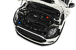 Car Stock 2018 MINI CLUBMAN Cooper 5 Door wagon Engine  high angle detail view
