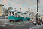 """Trolley going past Ebbets Field just after a summer rain, circa 1950 in Brooklyn, New York City. Oil on canvas, 16"""" x 24""""."""