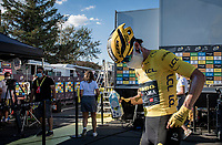 yellow jersey / GC leader Primoz Roglic (SVK/Jumbo-Visma) backstage behind the finish podium<br /> <br /> Stage 11 from Châtelaillon-Plage to Poitiers (168km)<br /> <br /> 107th Tour de France 2020 (2.UWT)<br /> (the 'postponed edition' held in september)<br /> <br /> ©kramon