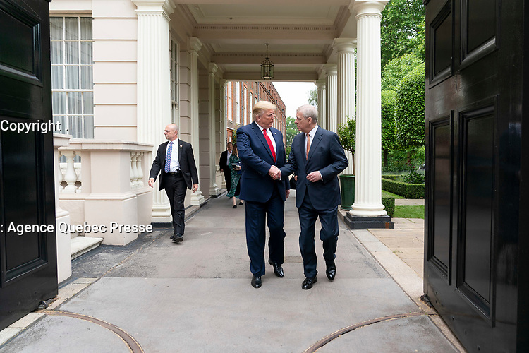 President Donald J. Trump is met by His Royal Highness Prince Andrew outside St. James's Palace in London Tuesday, June 4, 2019 en route to No. 10 Downing Street. (Official White House Photo by Shealah Craighead)
