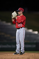 AZL Angels relief pitcher Cody Eckerson (56) prepares to deliver a pitch during an Arizona League game against the AZL Athletics at Tempe Diablo Stadium on June 26, 2018 in Tempe, Arizona. The AZL Athletics defeated the AZL Angels 7-1. (Zachary Lucy/Four Seam Images)