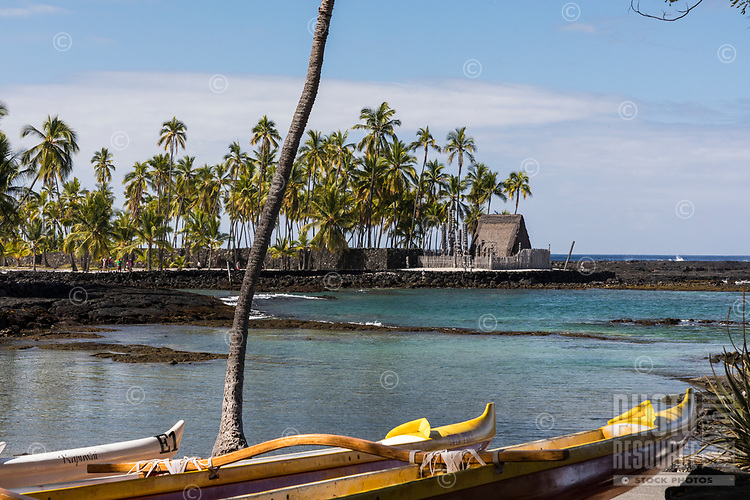 Pu'uhonua o Honaunau, an historic place of refuge and also a national historical park, seen from an outrigger canoe, south Kona, Big Island of Hawai'i.