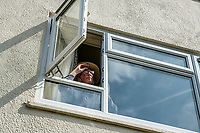 BNPS.co.uk (01202 558833)<br /> Pic: MaxWillcock/BNPS<br /> <br /> Robin Edmonds on the lookout for the 'vindictive' seagull.<br /> <br /> A homeowner is at his wits end after being repeatedly attacked by violent seagulls.<br /> <br /> Robin Edmonds was forced to flee for cover from the 'vindictive' bird that dive-bombed him as he left his home.<br /> <br /> The 49-year-old has been left in fear about going outside and has even bought a special hat to protect him.