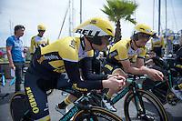 Bert-Jan Lindeman (NLD/LottoNL-Jumbo) & Maarten Tjallingii (NLD/LottoNL-Jumbo) are ready for a recon of the TTT course<br /> <br /> 2015 Giro<br /> startzone of stage 1: San Lorenzo Al Mare - San remo (TTT/17.6km)