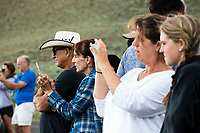 People look at a large herd of bison with calves as the animals cross the Lamar River and approach a road in the Lamar Valley, Yellowstone National Park, Wyoming, USA. Bison number about 5,500 in Yellowstone as of August 2016, according to the National Park Service. They are descended from a small group of 23 individuals that survived mass killings of bison in the 1800s.