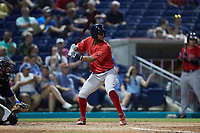 Antoni Flores (9) of the Salem Red Sox at bat against the Kannapolis Cannon Ballers at Atrium Health Ballpark on July 29, 2021 in Kannapolis, North Carolina. (Brian Westerholt/Four Seam Images)
